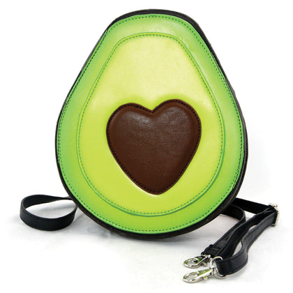 Have a Heart Avocado Crossbody Bag in Vinyl Material-Avocado Design Store