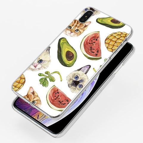 Avocado Cats and Watermelons (Apple iPhone)-for iPhone X-Avocado Design Store