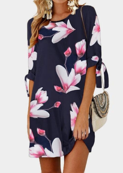Floral Tab-Sleeve Mini Dress