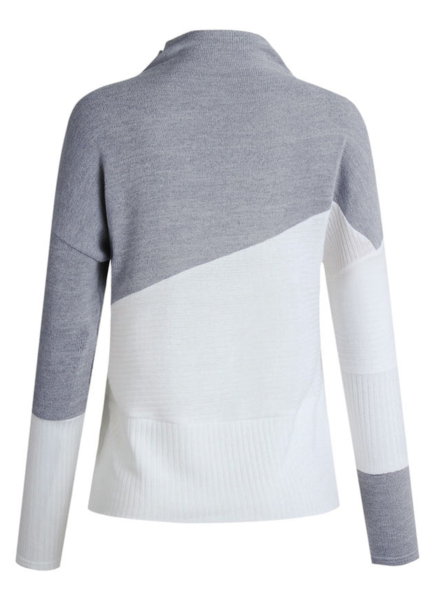 Color Block Splicing Long Sleeve Sweater