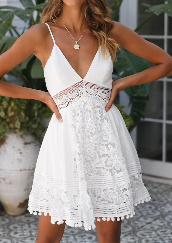 Solid Lace Splicing Mini Dress without Necklace