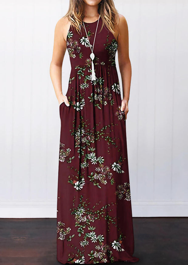 Floral Pocket Sleeveless Maxi Dress without Necklace