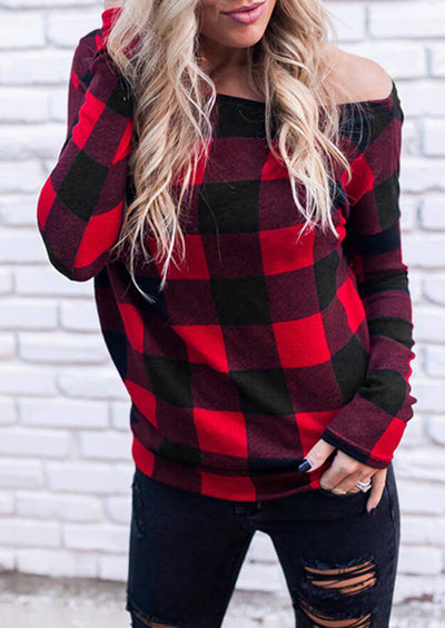 Plaid Off Shoulder Blouse - Red