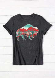 Buffalo Cactus T-Shirt Tee - Dark Grey