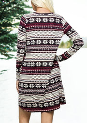 Striped Splicing Christmas Snowflake Pocket Mini Dress