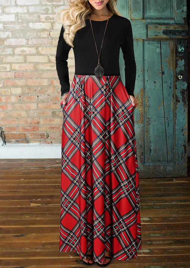 Christmas Buffalo Plaid Splicing Pocket Maxi Dress without Necklace - Red