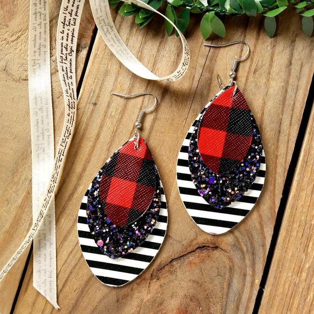 Multi-Layered Sequined Striped Leather Earrings