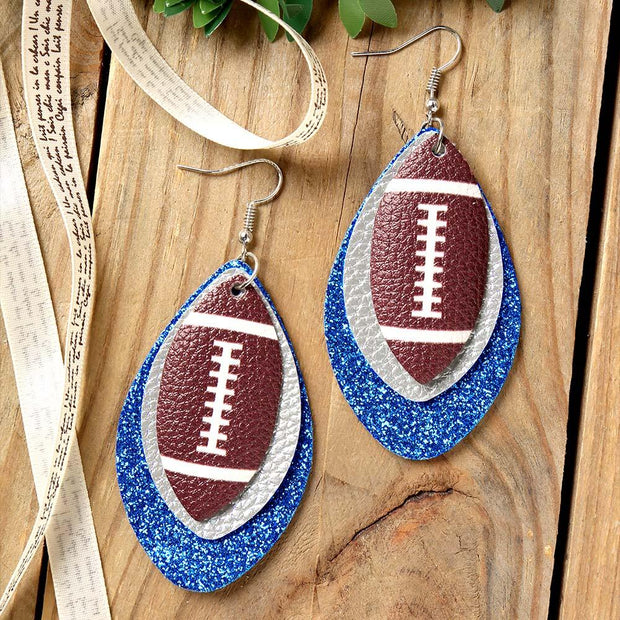 Football Sequined Three-Layered PU Leather Earrings