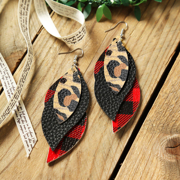 Plaid Printed Leaf Multi-Layered Leather Earrings