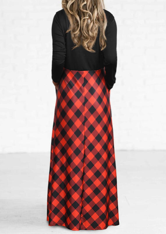 Christmas Plaid Pocket Long Sleeve Maxi Dress - Red
