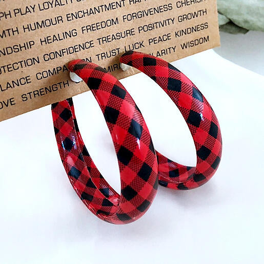 Women's Plaid Round Leather Earrings