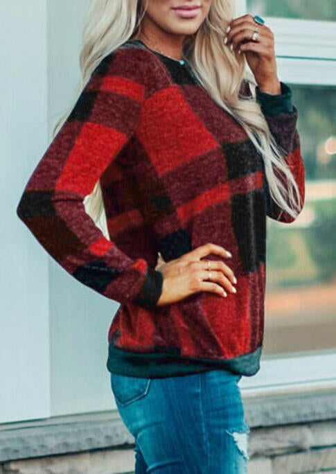 Plaid Long Sleeve O-Neck Blouse without Necklace