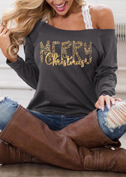 Merry Christmas Off Shoulder Blouse without Lace Strap - Dark Grey