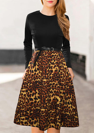 Leopard Printed Splicing Mini Dress