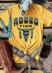 Rodeo Time Steer Skull Feather T-Shirt Tee - Yellow