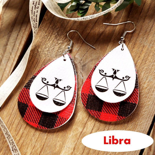 Plaid Printed 12 Constellation Dual-layered PU Leather Earrings