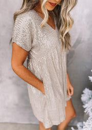 Sequined Hollow Out Pocket Asymmetric Mini Dress - Light Khaki