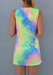 Rainbow Print Mini Dress