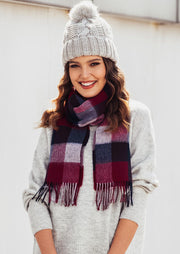 Feelily Plaid Tassel Soft Classic 100% Wool Scarf