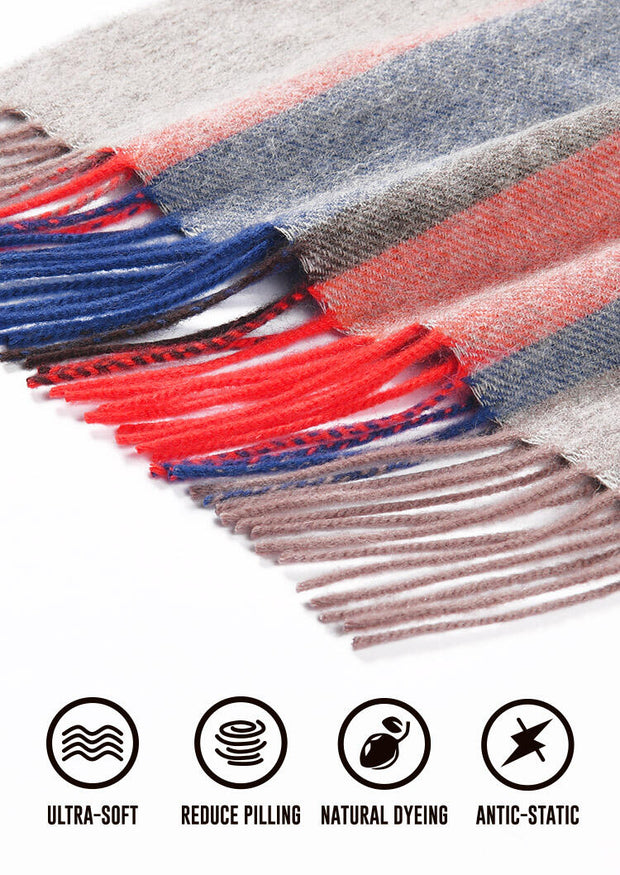 Feelily Striped Tassel Soft And Warm 100% Wool Scarf