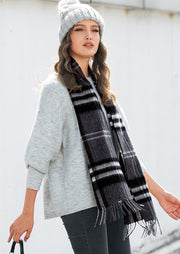 Feelily Classic Plaid Tartan Tassel 100% Wool Scarf