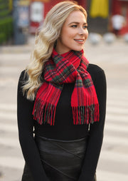 Feelily Plaid Tartan Tassel 100% Wool Scarf