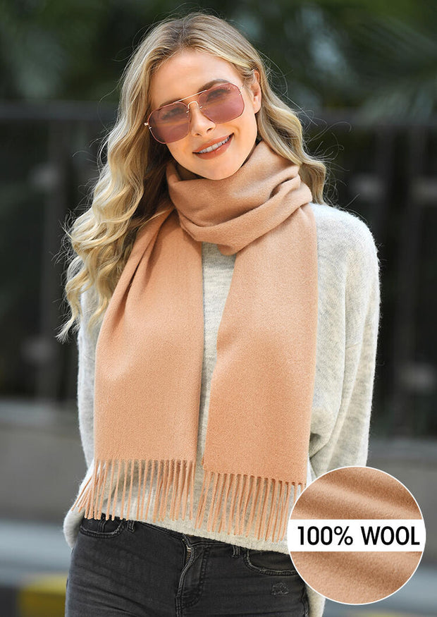Feelily Solid Tassel 100% Wool Scarf