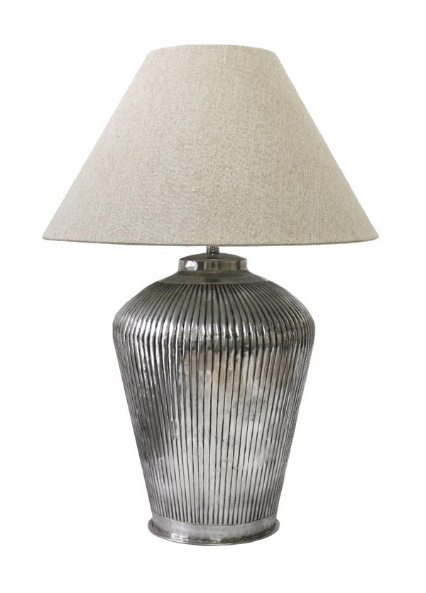 Urn Lamp with Narrow Ridges in Antique Silver Finish with Ivory Lamp Shade 51cm