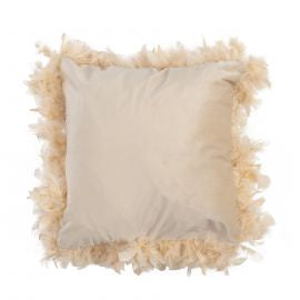 Feather Trimmed Square Cushion Taupe