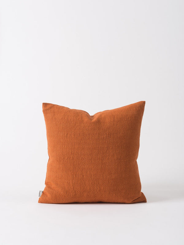 Washed Woven Cushion Cover Chestnut 50cm