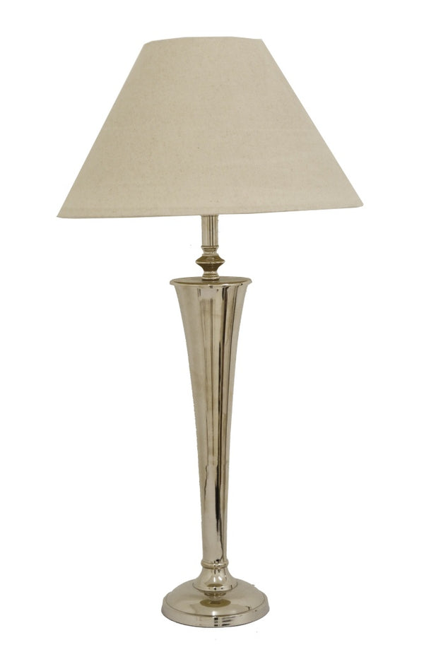 Round Tapered Stem Lamp in Nickel Finish with Ivory Lampshade