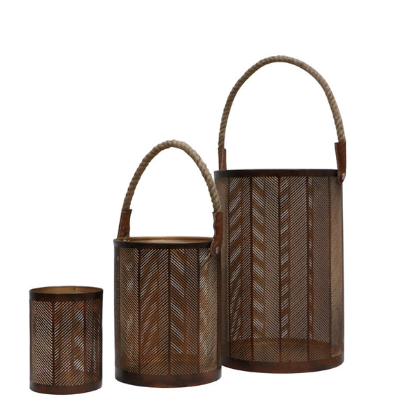Reese Lantern Large Dark Brown