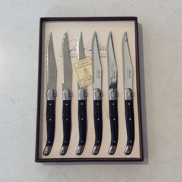 Laguiole Steak Knives Black Set/6