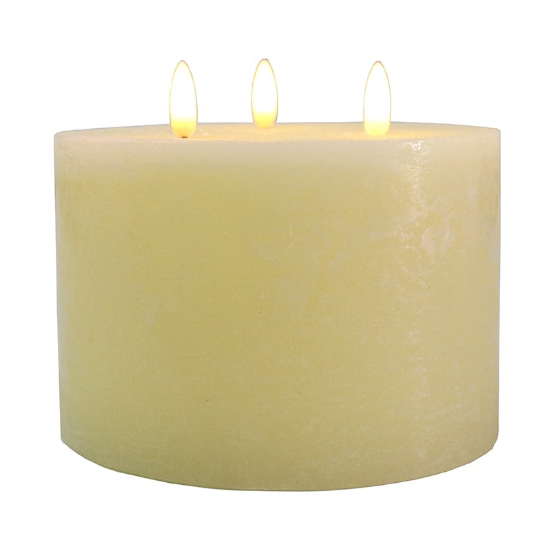 LED Battery 3 Wick Candle Ivory 15x10cm