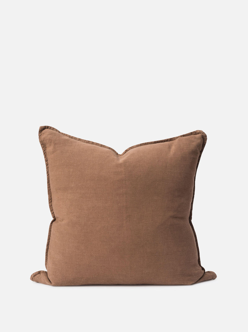 Washed Linen Cushion Cover Tobacco