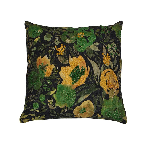 Fleur Faded Green Flower Cushion 45cm