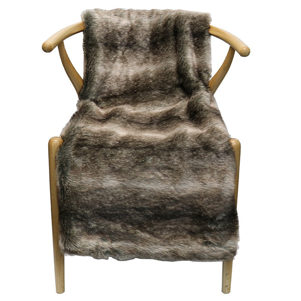 Faux Fur Black Stripe Throw