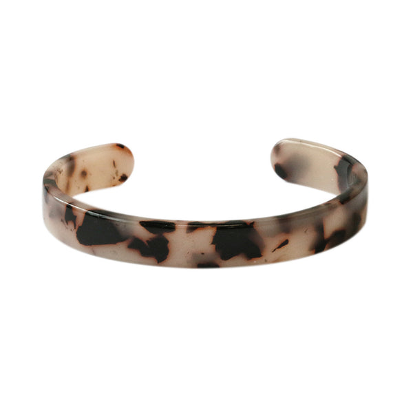 Beige Tortoise Shell Style Cuff Bangle