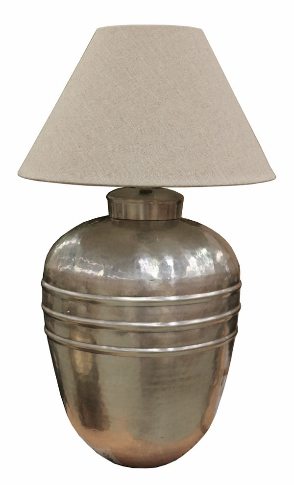 Ridged Antique Silver Finish Lamp with Ivory Shade