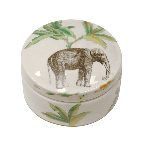 Elephant Safari Round Box with Lid