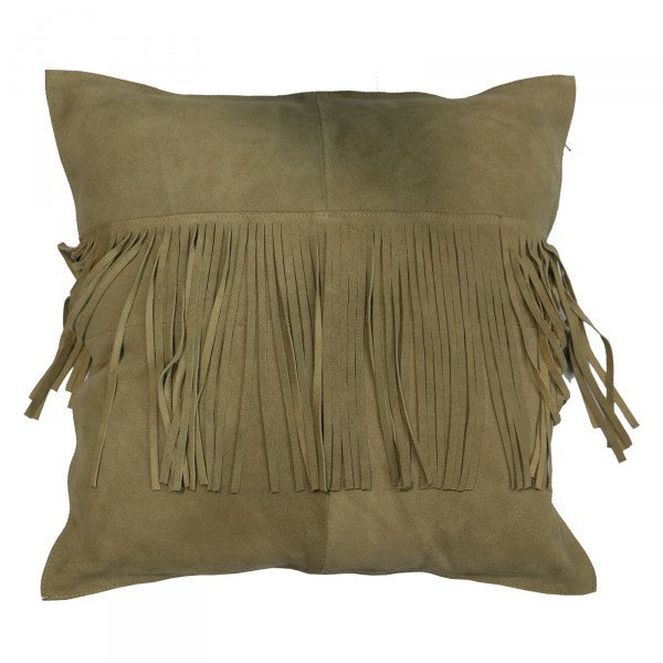 Suede Fringed Cushion Fawn