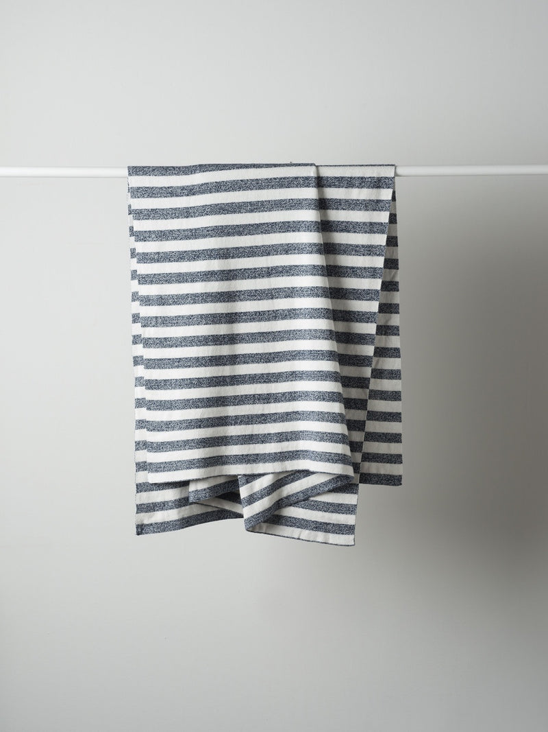 Stripe Cotton Knit Cot Blanket Chalk/Ink