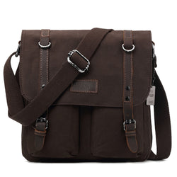 Edison Waxed Canvas Messenger Bag - Dark Brown