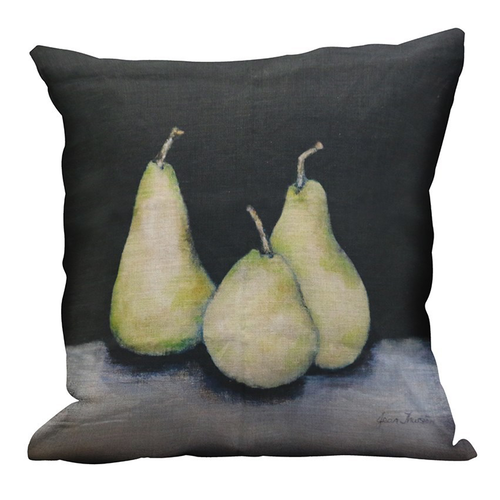 Linen Cushion Cover with Pears 50cm