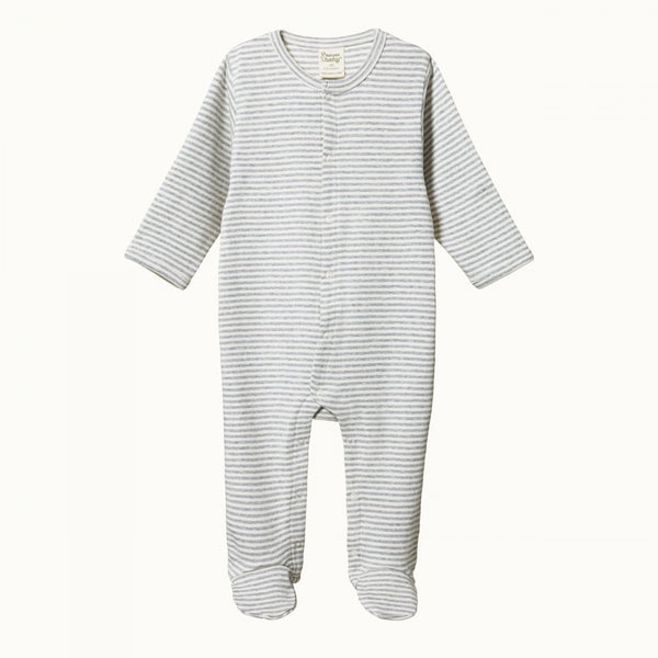 Cotton Stretch & Grow Grey Marl Stripe