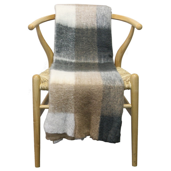 Brown/Grey Check Throw 130cmx170cm