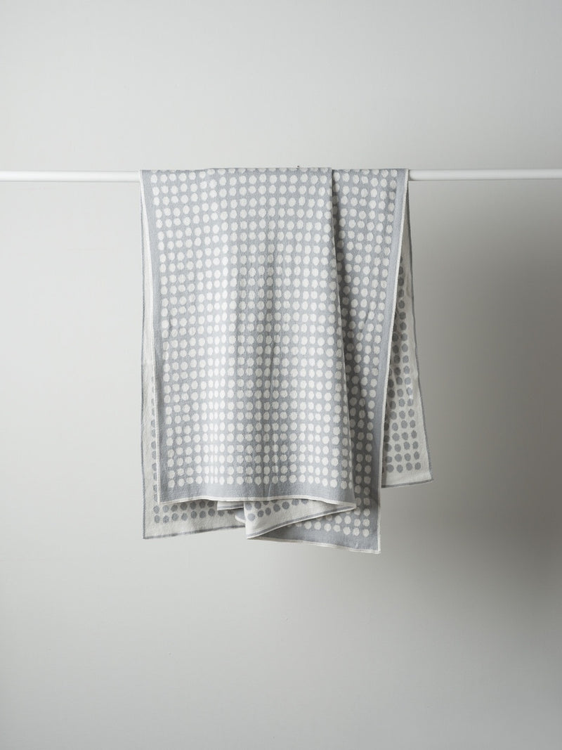 Polka Dot Cotton Knit Cot Blanket Smoke