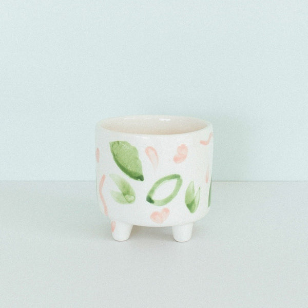 Jungly Footed Pot - Green/Pink/White