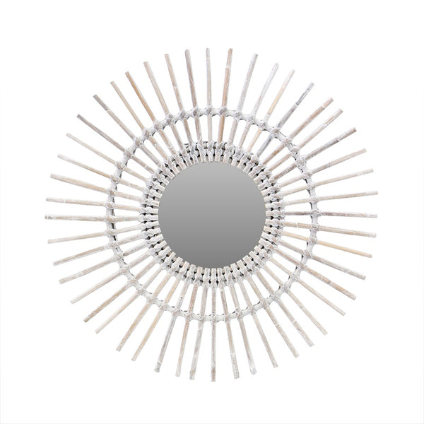 Rattan Sun Mirror White Wash 60cm