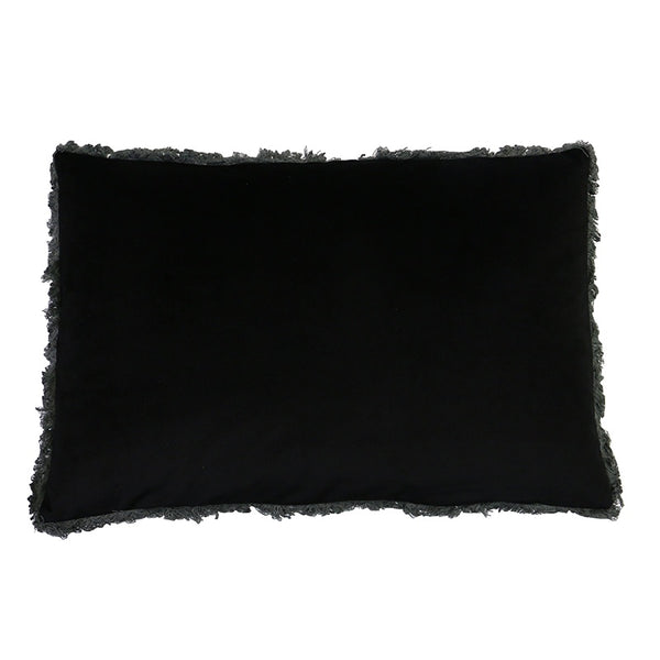 Velvet Fringed Cushion Black